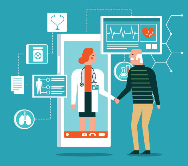 healthcare service - online - old patient - telemedicine stock illustrations
