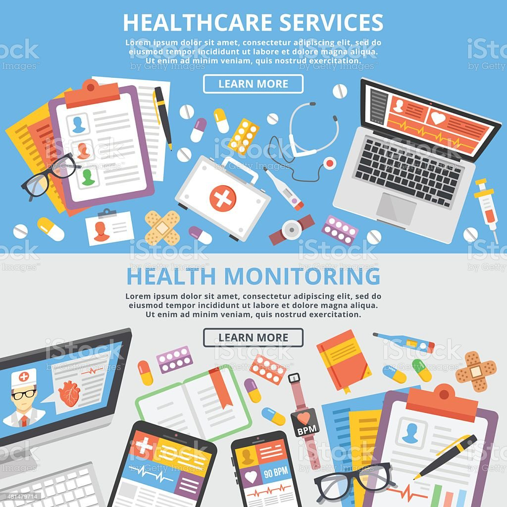 Healthcare services, health monitoring, research flat illustration concepts set vector art illustration