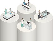 Illustration of healthcare disciplines, activities and data remaining separated in silos.