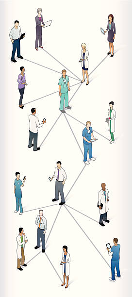 Healthcare Social Media Connections vector art illustration