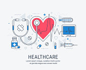 Healthcare thin line illustration