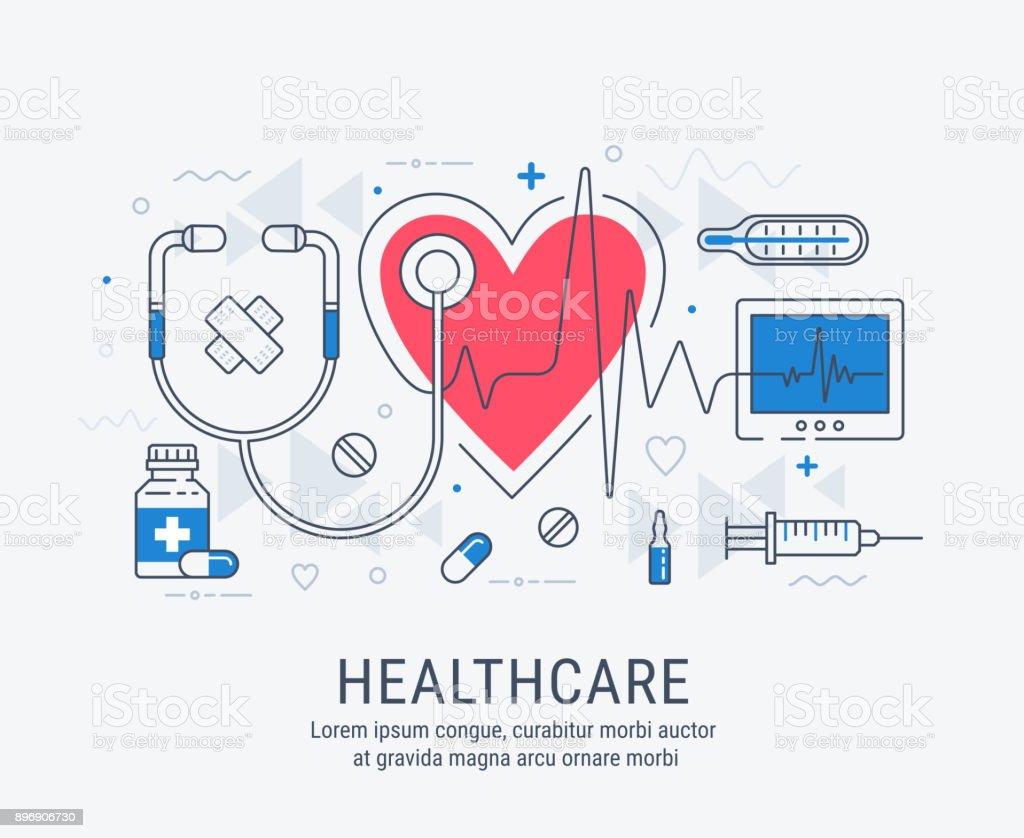 Gesundheitswesen, dünne Linie Abbildung – Vektorgrafik