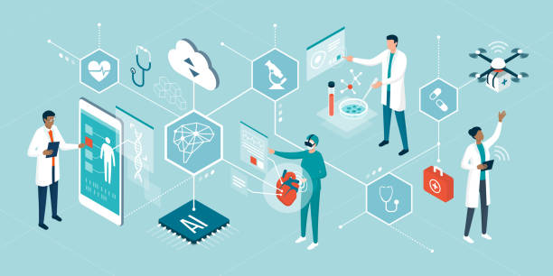 Healthcare trends and innovative technologies Doctors and researchers using innovative technologies for medicine and healthcare: artificial intelligence, virtual reality, drones, stem cells and digital organs medical stock illustrations