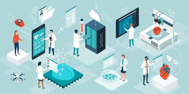 醫療保健趨勢和創新技術 - 健康科技 幅插畫檔、美工圖案、卡通及圖標