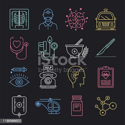 Healthcare utilization and patient care neon style concept outline symbols. Line vector icon sets for infographics and web designs.