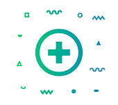 Healthcare icon shape with outline vector illustration. Concept line icon for social media, networking, marketing, social media campaign etc.
