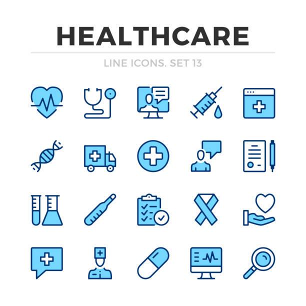 bildbanksillustrationer, clip art samt tecknat material och ikoner med healthcare vektor linje ikoner som. tunn linje design. moderna konturer grafiska element, enkla stroke symboler. ikoner för hälso-och sjukvård - medicinsk undersökning