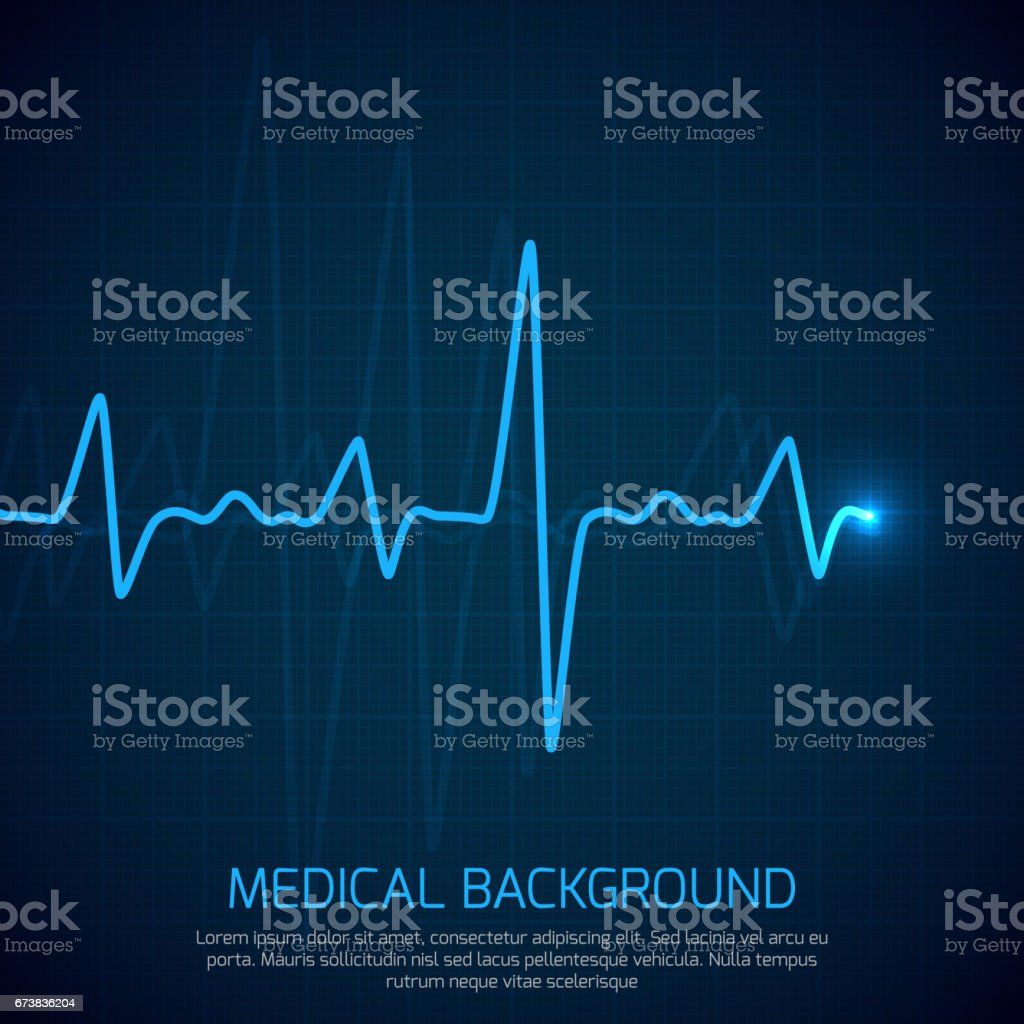 Healthcare vector medical background with heart cardiogram. Cardiology concept with pulse rate diagram vector art illustration