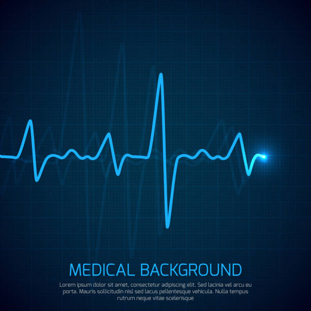 illustrazioni stock, clip art, cartoni animati e icone di tendenza di healthcare vector medical background with heart cardiogram. cardiology concept with pulse rate diagram - elettrocardiogramma