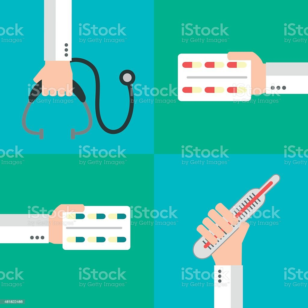 Healthcare vector set, flat design style vector art illustration