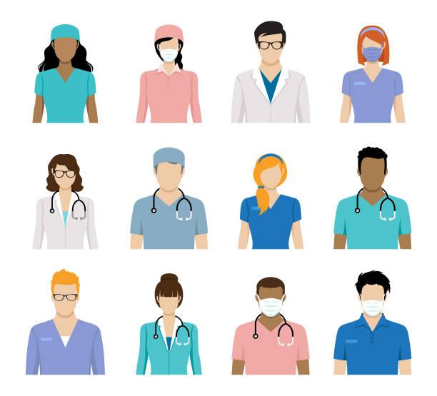 ilustraciones, imágenes clip art, dibujos animados e iconos de stock de avatares de trabajadores sanitarios y avatares de médicos - black people