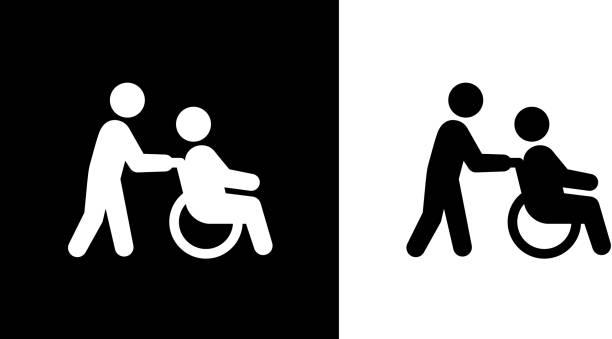bildbanksillustrationer, clip art samt tecknat material och ikoner med hälsoarbetare promenader med ledande mannen rullstol. - wheel black background