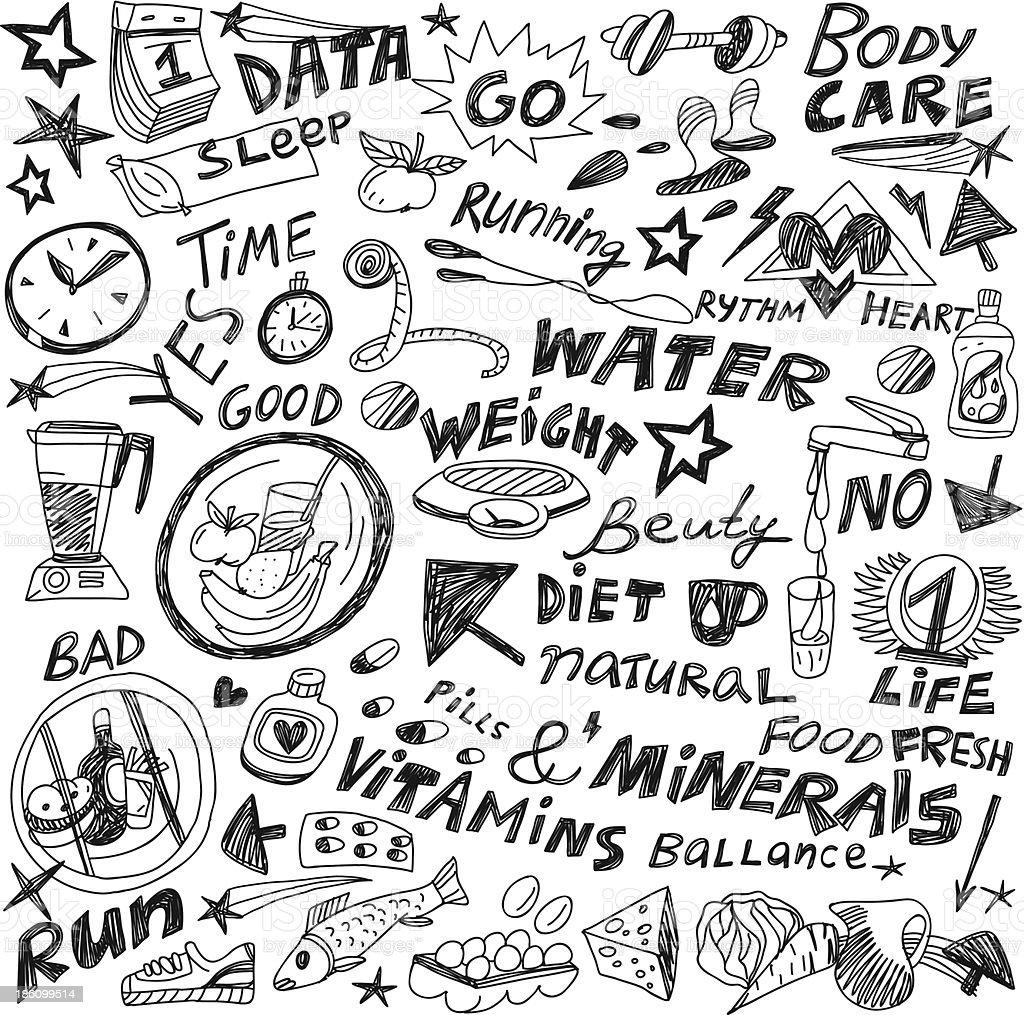 Health,food,diet - doodles set royalty-free healthfooddiet doodles set stock vector art & more images of apple - fruit
