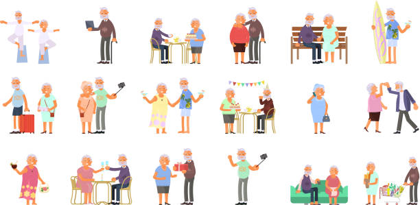 healthy active lifestyle - geriatrics stock illustrations, clip art, cartoons, & icons
