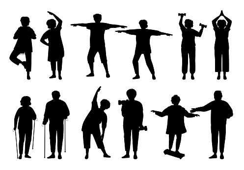 Healthy active old people black silhouette vector