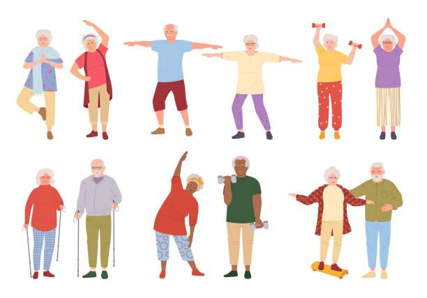 bildbanksillustrationer, clip art samt tecknat material och ikoner med friska aktiva äldre människor tecknad uppsättning vektor - gammal
