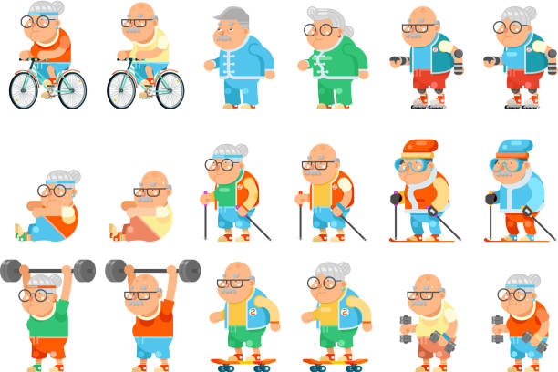 healthy activities fitness granny grandfather adult old age man woman characters set cartoon flat design vector illustration - old man on bike stock illustrations