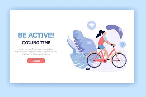 Healthy and active lifestyle illustration concept for web banners, landing pages, presentations, posters, advertising. Girl riding a bike on white background, vector flat style.
