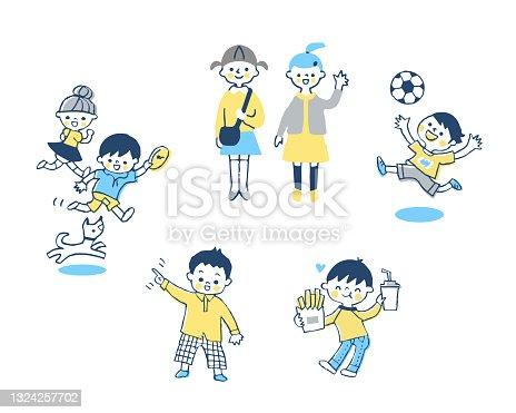 istock Healthy and energetic children's set 1324257702