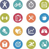 Healthy and Fitness Icons - Circle Series
