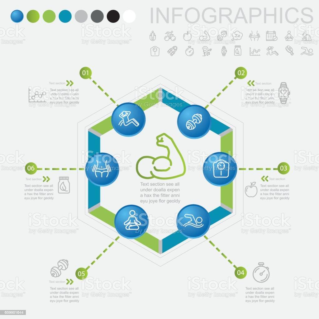 Saludables y los iconos infografía línea de Fitness | EPS 10 - ilustración de arte vectorial