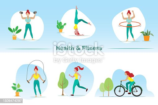Healthy and fitness lifestyle woman in activities set, dumbbell, yoga, hula hooping, jumping rope, jogging and biking.