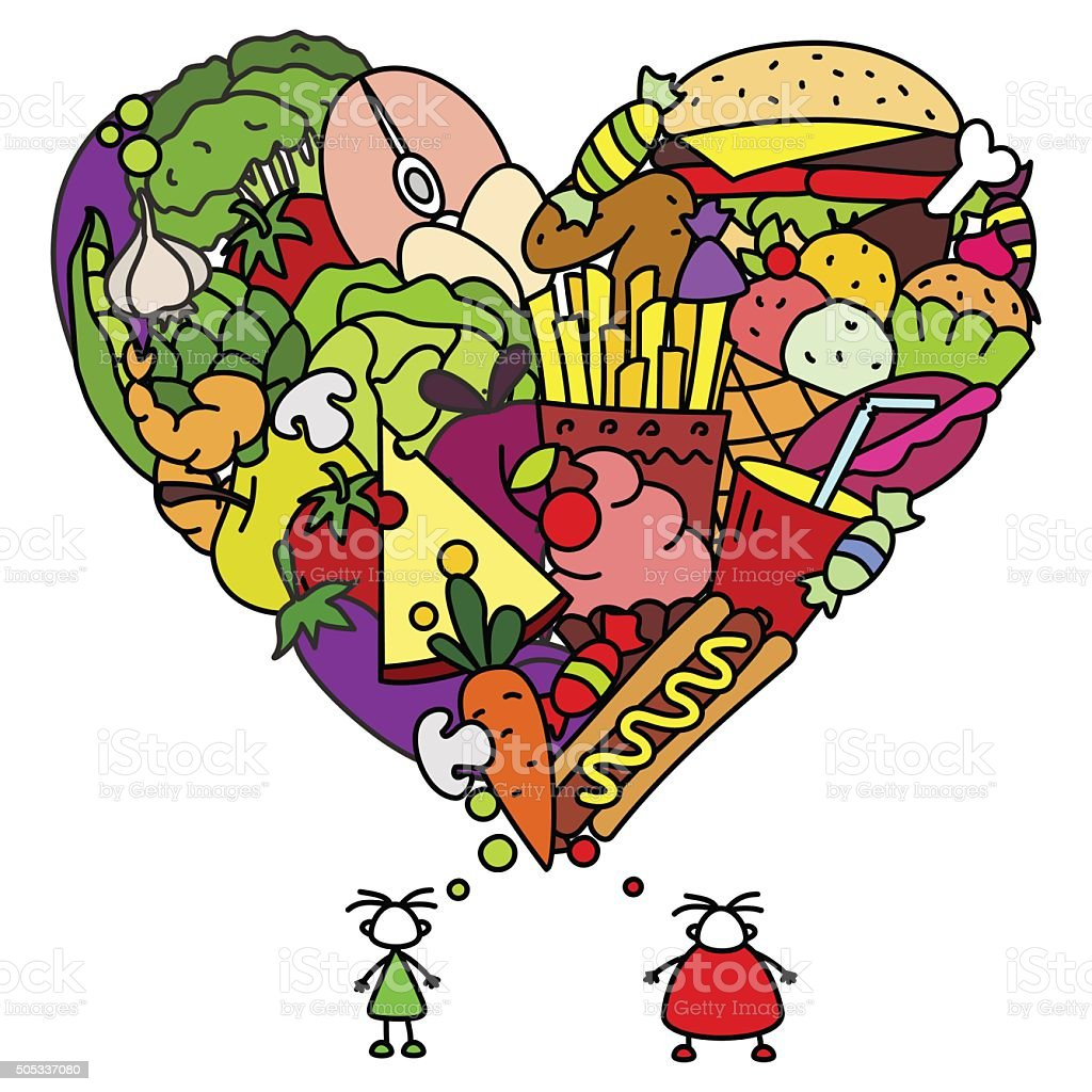 Healthy and junk food for people vector art illustration