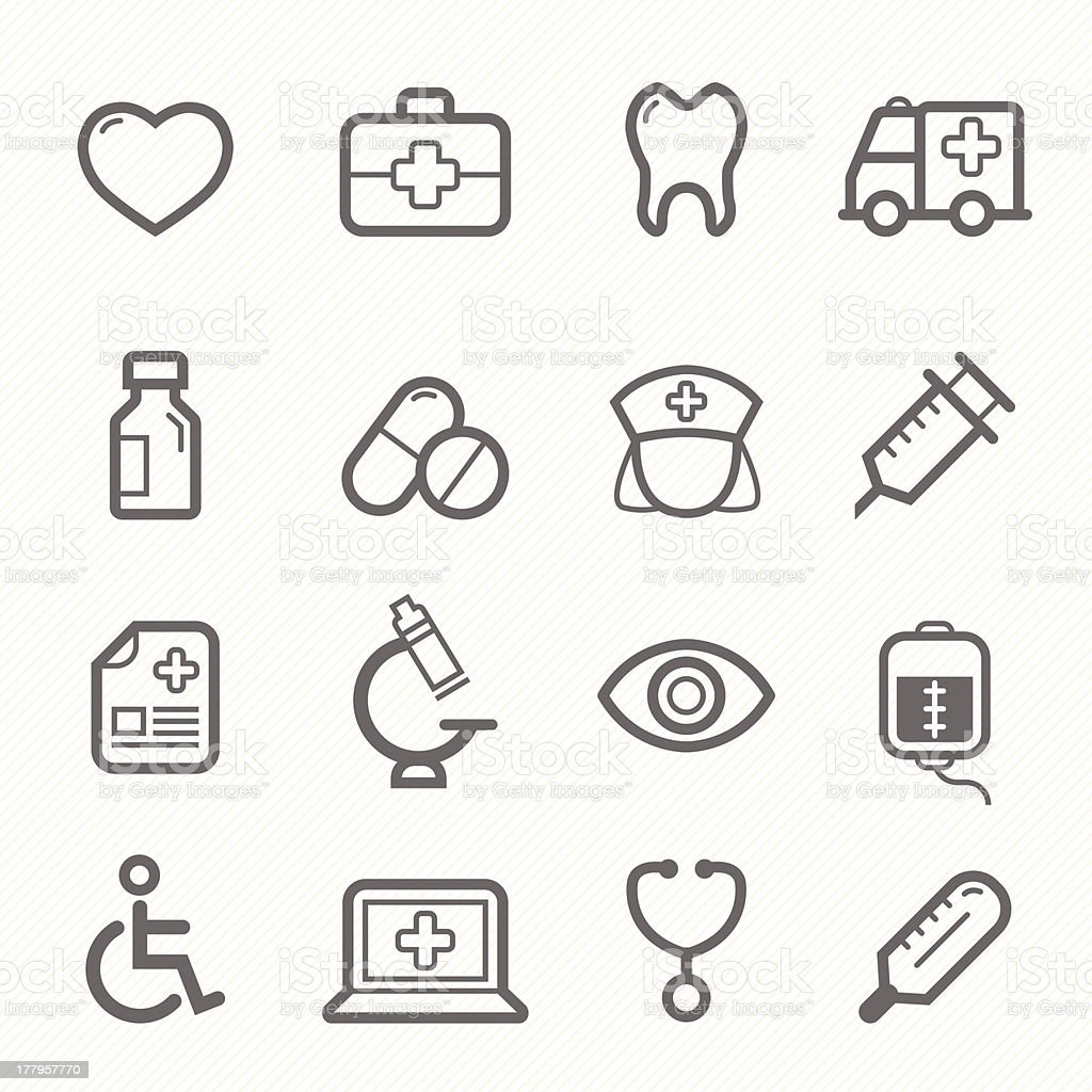 healthy and medical symbol line icon set vector art illustration