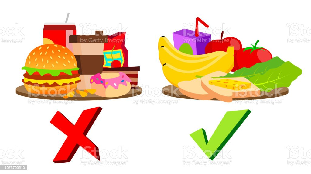 Healthy And Unhealthy Food Concept Vector Isolated Cartoon ...