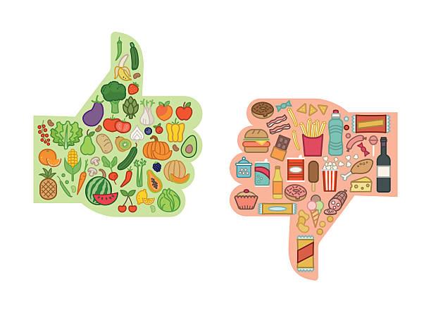 건강한 음식 및 건강에 - 악한 stock illustrations