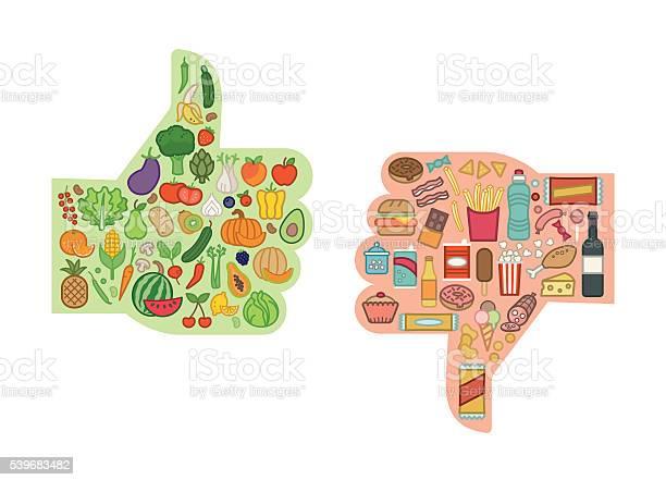 Gesunde Und Ungesunde Lebensmittel Stock Vektor Art und mehr Bilder von Gesunde Ernährung