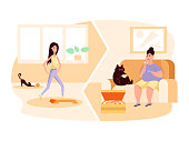 Slim woman with cat doing gymnastics. Fat woman sitting on an chair and eat pizza. Obesity. Healthy and unhealthy lifestyle. Sport vs fastfood. Vector flat color illustration. Concept for overweight.