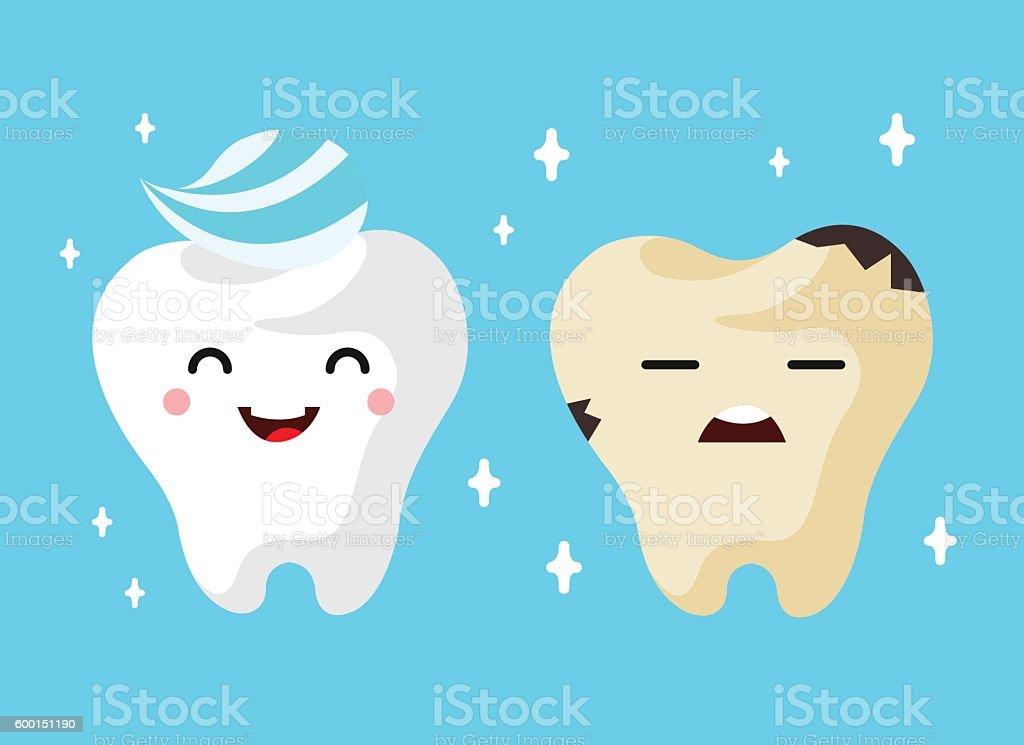 Healthy And Unhealthy Sad Tooth Cartoon Characters Stock Vektor Art