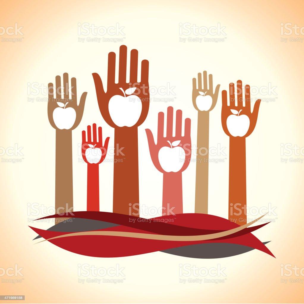 Healthy apple hands design. vector art illustration