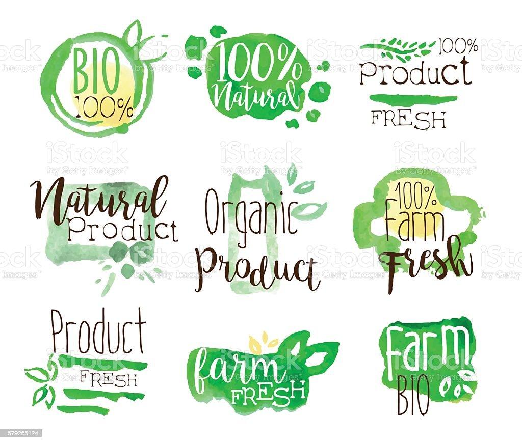 Healthy Bio Food Promo Signs Colorful Set vector art illustration