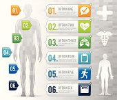 Healthy body option infographic. EPS 10 file. Transparency effects used on highlight elements.