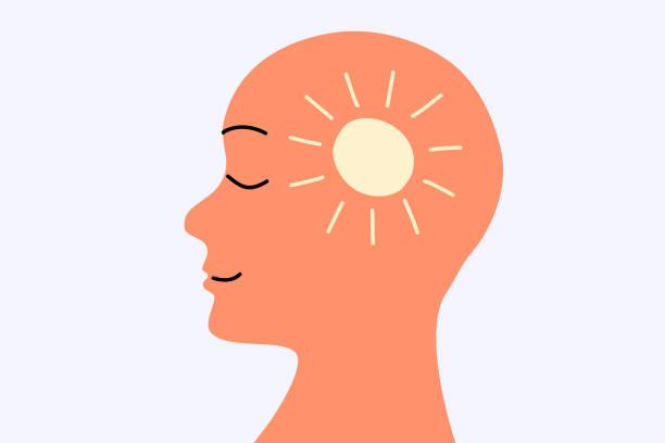bildbanksillustrationer, clip art samt tecknat material och ikoner med friska hjärna och sinne - kvinna ansikte glow