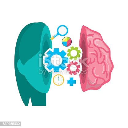 healthy brain with gears process work stock vector art more images