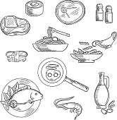 Healthy breakfast and lunch sketched icons