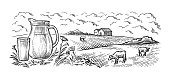 istock healthy Breakfast drawing sketch glass milk bottle iron can cup field cow vilage vector 1291374053