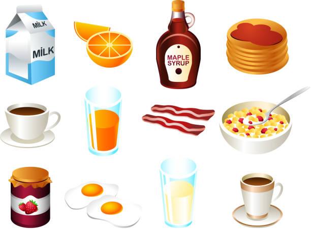 illustrazioni stock, clip art, cartoni animati e icone di tendenza di set di icona cibo salutare per la prima colazione - fruit juice bottle isolated