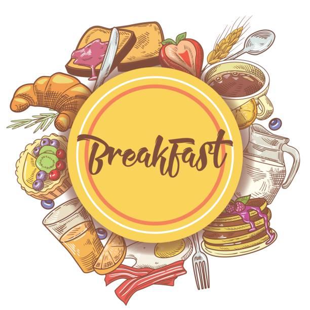 gesundes frühstück handgezeichneten entwurf mit eiern - frühstück stock-grafiken, -clipart, -cartoons und -symbole