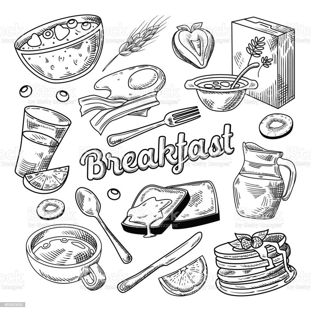 Petit-déjeuner sain main Doodle dessinés. Alimentaire - Illustration vectorielle