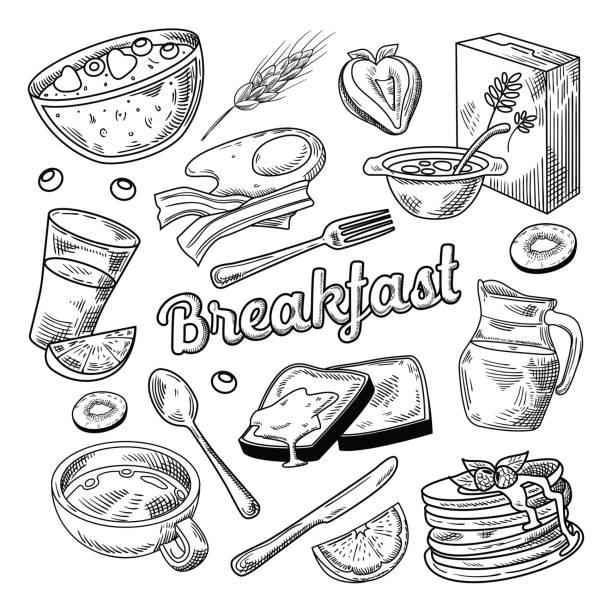 ilustraciones, imágenes clip art, dibujos animados e iconos de stock de desayuno saludable mano doodle dibujado. alimentos - desayuno