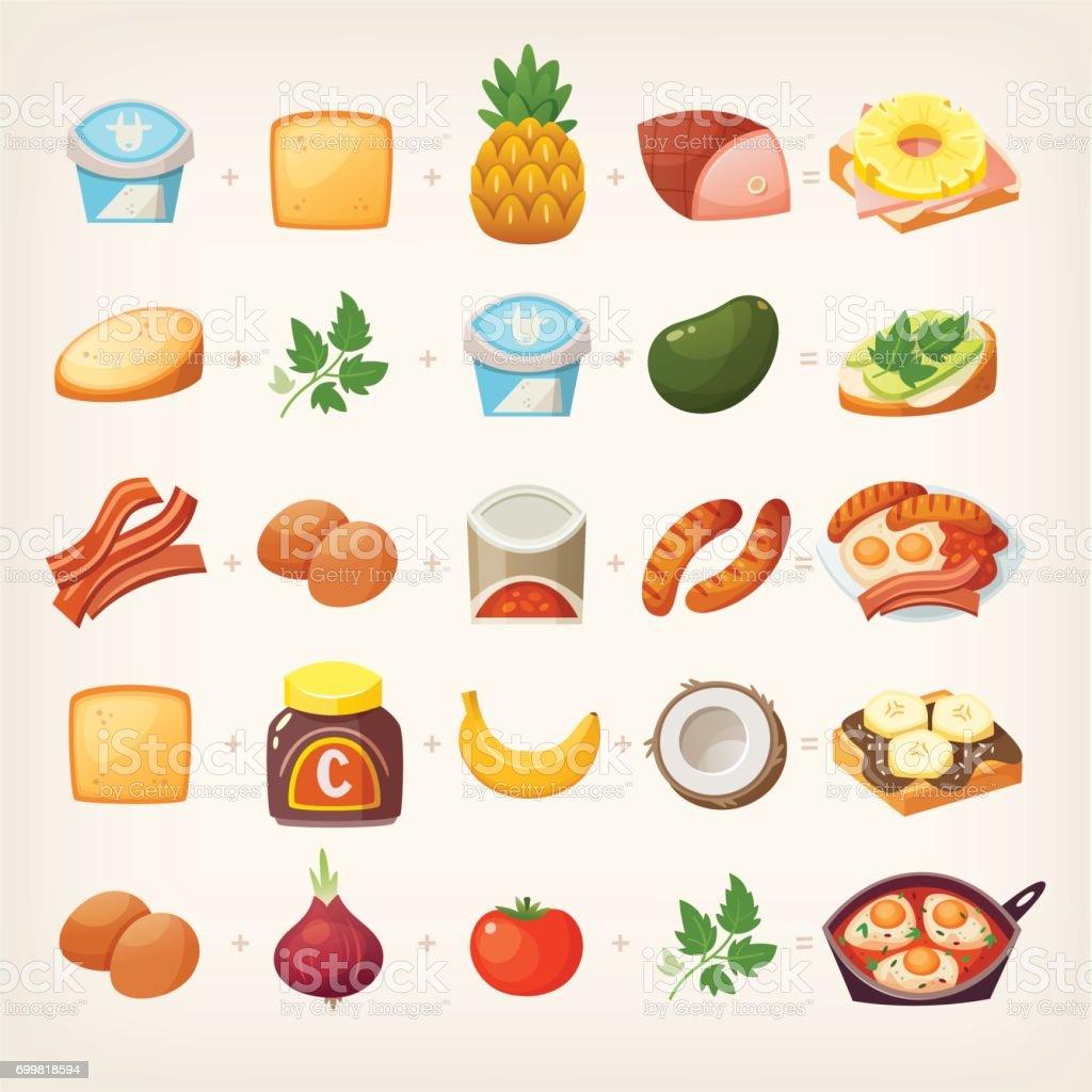 Healthy breakfast mix vector art illustration