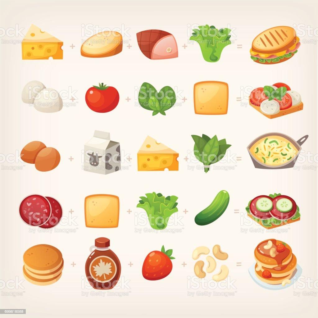 Healthy breakfast mix_2 vector art illustration