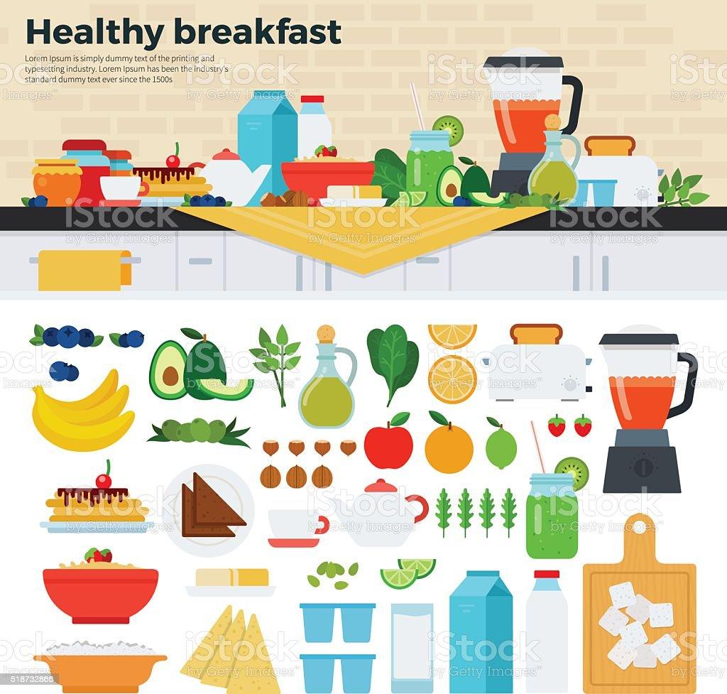 Healthy breakfast on the table in kitchen vector art illustration