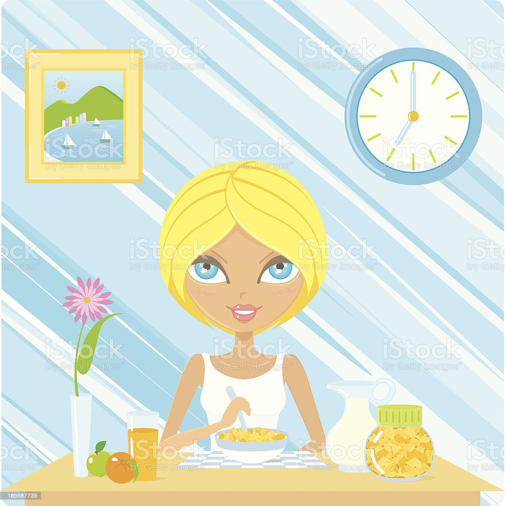 Healthy breakfast vector art illustration