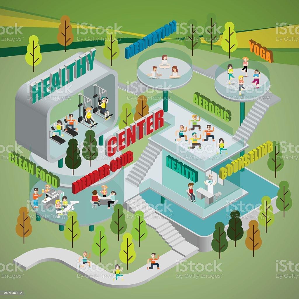 Healthy Center Infographics vector art illustration
