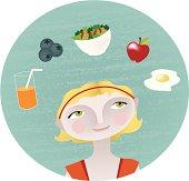 Woman choosing healthy foods.